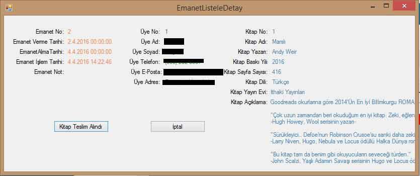 C Sharp Kutuphane Otomasyonu Emanet Listele Detay